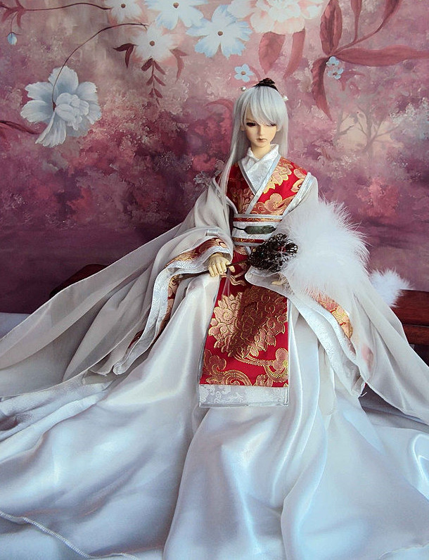 Asian Fashion Chinese Wide Sleeves Traditional White Hanfu Clothing for Adults
