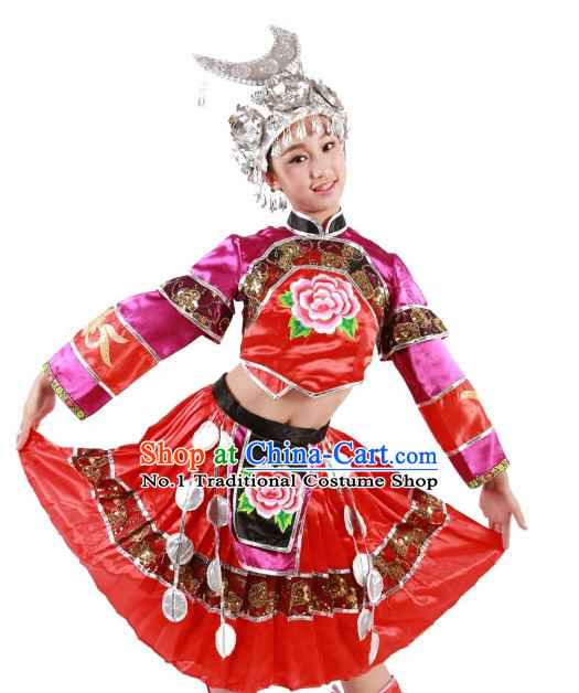 Custom Made Chinese Miao Group Dance Costumes Team Dance Costumes for Women