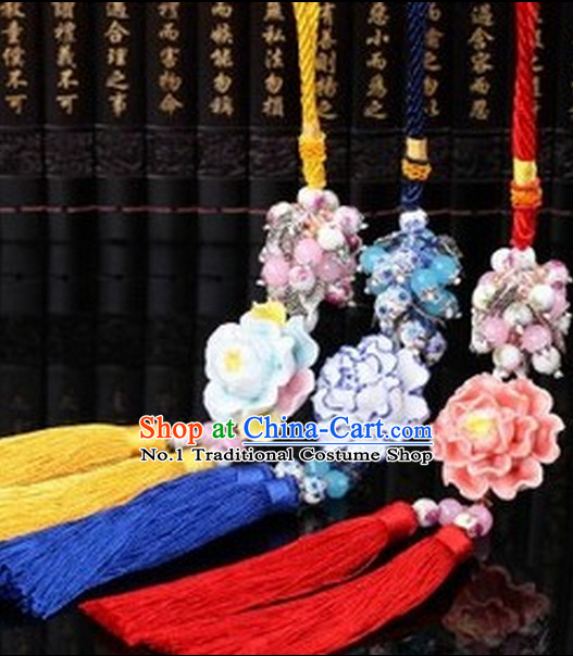 Chinese Ancient Costumes Royal Jade Wearing Accessories Three Pieces Set