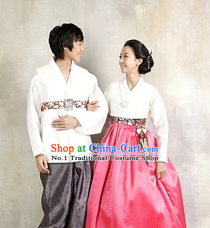 Korean Huband and Wife Special Day Hanbok Dresses Complete Set for Men and Women