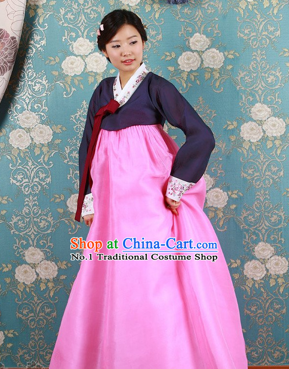 Long Sleeves South Korean Female Hanbok Clothing Dresses Complete Set