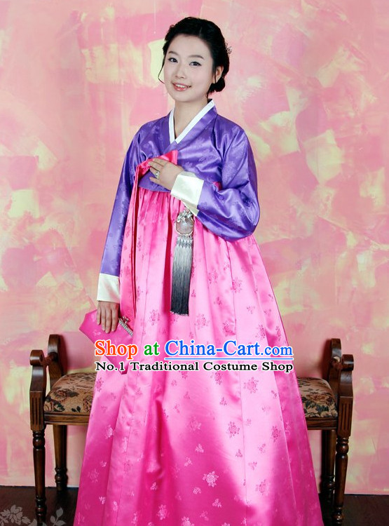 Traditional Korean Lady Hanbok Clothes Complete Set