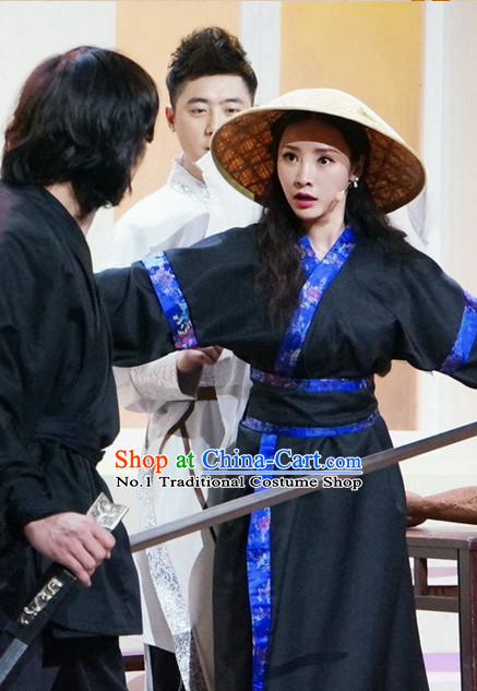 Asian Fashion Chinese Swordswoman Costumes and Hat Complete Set