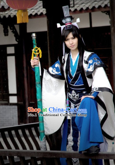 Chinese Costumes Traditional Clothing China Shop Asian Warrior Black Cosplay Costumes for Men