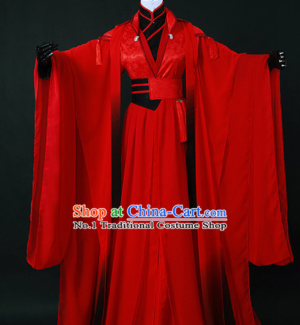 Chinese Red Romantic Wedding Gowns Hanfu Costumes