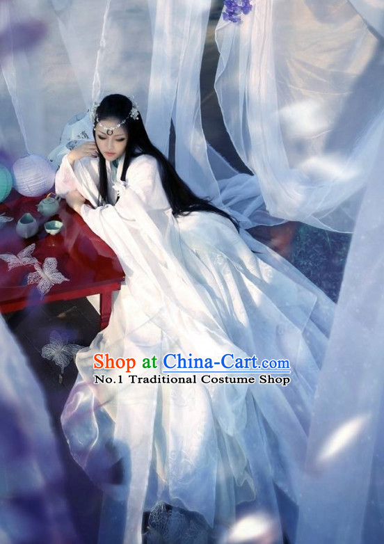 China Civilization Chinese Pure White Hanfu Clothing and Hair Jewelry Complete Set for Women
