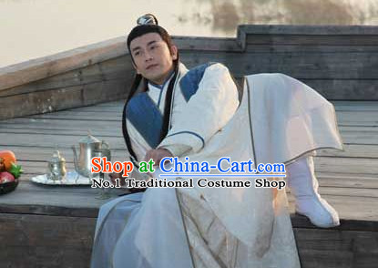 Chinese Swordsmen Kimono Costumes China Civilization and Hair Bands Complete Set for Men