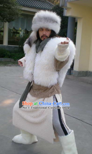 Chinese Genghis Khan Costumes China Civilization and Hat Complete Set for Men