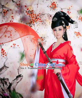 Chinese Costumes Asian Fashion Bridal Costumes and Hair Jewelry Complete Set for Women