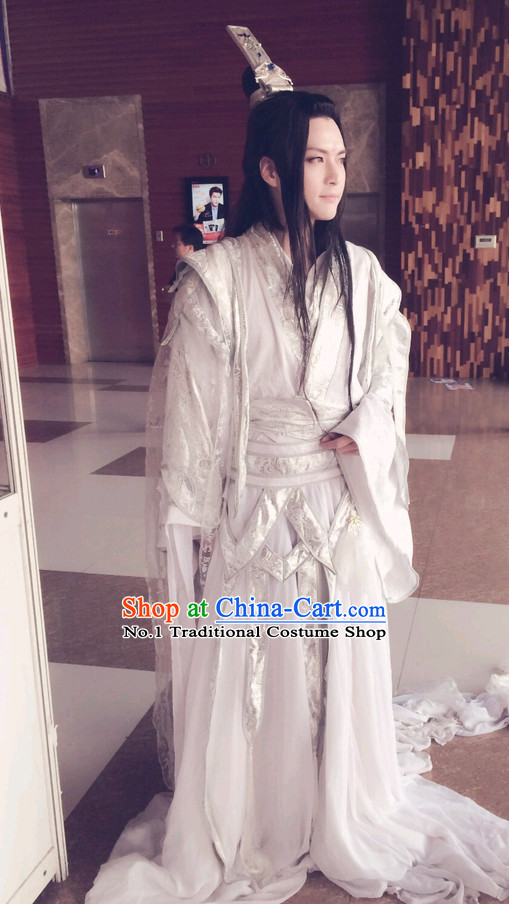 Chinese White Fairy Costumes Asian Fashionand Hair Jewelry Complete Set for Men