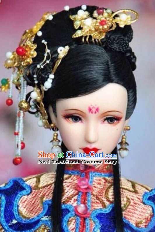 Chinese Traditional Empress Black Wig and Hair Accessories