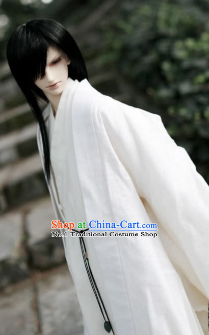 Asian Fashion Chinese White Kimono Costumes Hanfu for Men