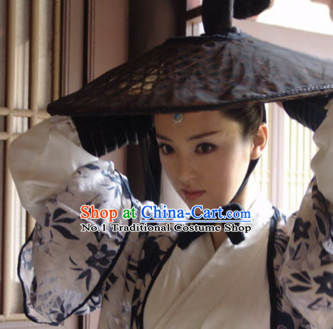 Asian Fashion Chinese Traditional Black Swordman Bamboo Hat for Men or Women