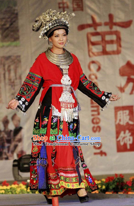 Chinese Traditional Miao Ethnic Clothing and Silver Hat Complete Set