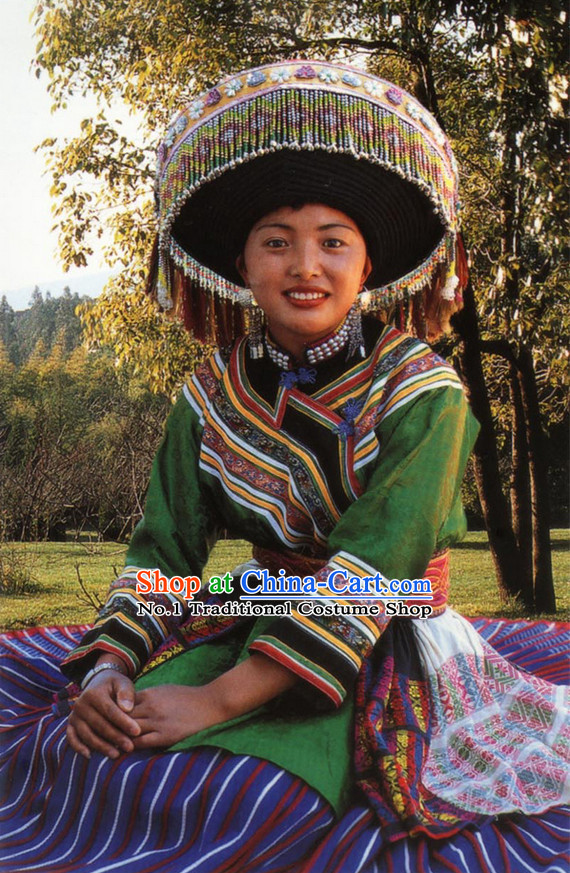Chinese Traditional Miao Ethnic Clothing and Hat Complete Set
