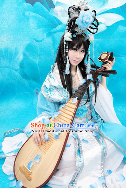 Chinese Blue and White Fairy Costumes and Hair Accessories Complete Set for Women