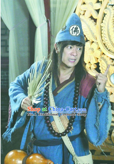 China Ancient Ji Gong Beggar Costumes and Hat Complete Set