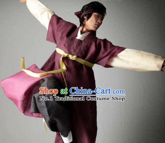 Top Korean Traditional Custom Made Ancient Swordsmen Hanbok Complete Set for Men