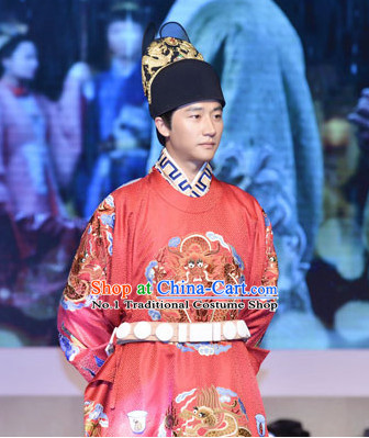 Chinese Ancient Emperor Costume and Hat Complete Set for Men