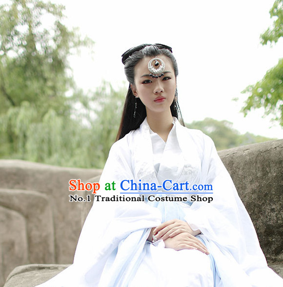Asia Fashion Ancient China Culture Chinese White Princess Costumes and Hair Accessories Complete Set