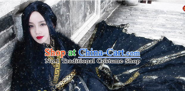 Asia Fashion Ancient China Culture Chinese Black Swordman Costumes