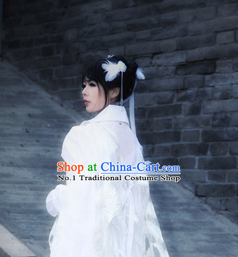 Asia Fashion Ancient China Culture Chinese White Princess Hanfu Clothing