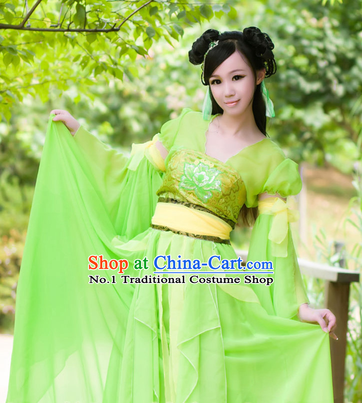 Asia Fashion Ancient China Culture Chinese Light Green Hanfu Clothes and Hair Accessories