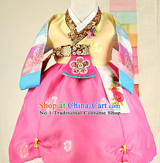 Traditional Korean Mother Custom Made Hanbok Costumes Complete Set for Girls