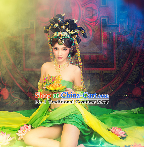 Asian Fashion Chinese Ancient Dancing Queen Costume and Hair Accessories Complete Set