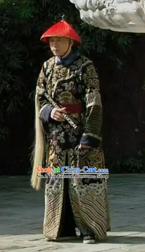 Chinese Qing Dynasty Eunuchs Costumes and Hat Complete Set