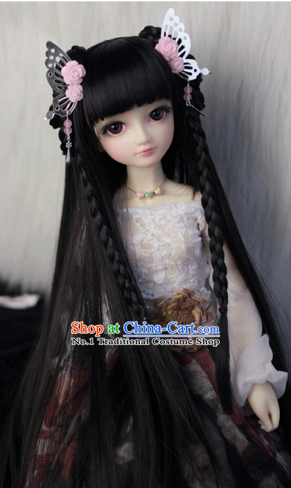 Chinese Classical Princess Black Long Wig and Hair Jewelry Complete Set
