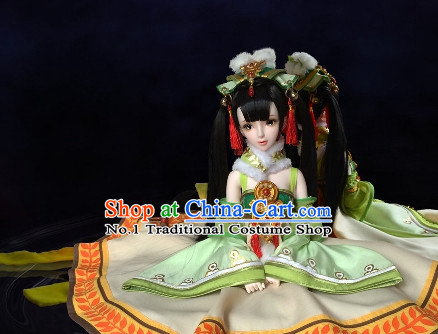 Chinese Classical Empress Black Long Wig and Hair Jewelry Complete Set