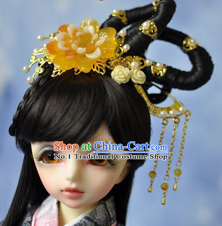 Traditional Chinese Princess Black Wig and Hair Jewelry