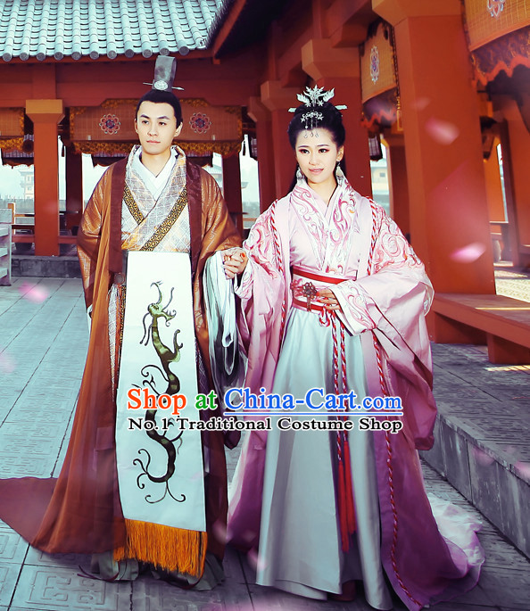 Chinese Imperial Emperor and Empress Clothes and Hair Accessories Complete Set