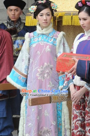 Chinese Ancient Costume Mandarin Dress and Hair Jewelry Complete Set