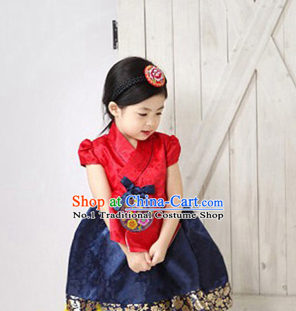 Korean Traditional Dress Kids Plus Size Dancing Clothing Complete Set