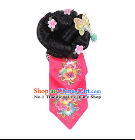 Korean Traditional Black Wig and Headbands