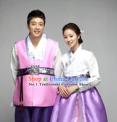 Traditional Korean Fashion Style Husband Wife Clothing Complete Sets for Men and Women