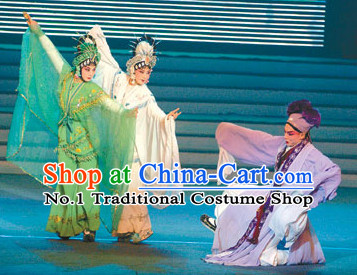 Chinese Traditional Xu Xian Bai She Qing She Opera Costumes 3 Sets