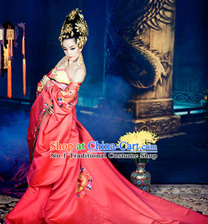 Asian Fashion Chinese Wedding Traditions Dress and Hair Accessories Full Set for Women