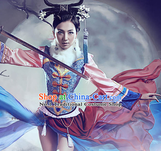 Chinese Traditional Photo Shoot Costumes and Hair Ornaments Complete Set