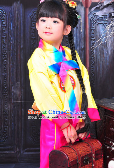 Chinese Traditional Korean National Costumes and Hair Clips for Kids
