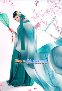 Chinese Traditional National Costumes Color Transition Sexy Halloween Costume Complete Set