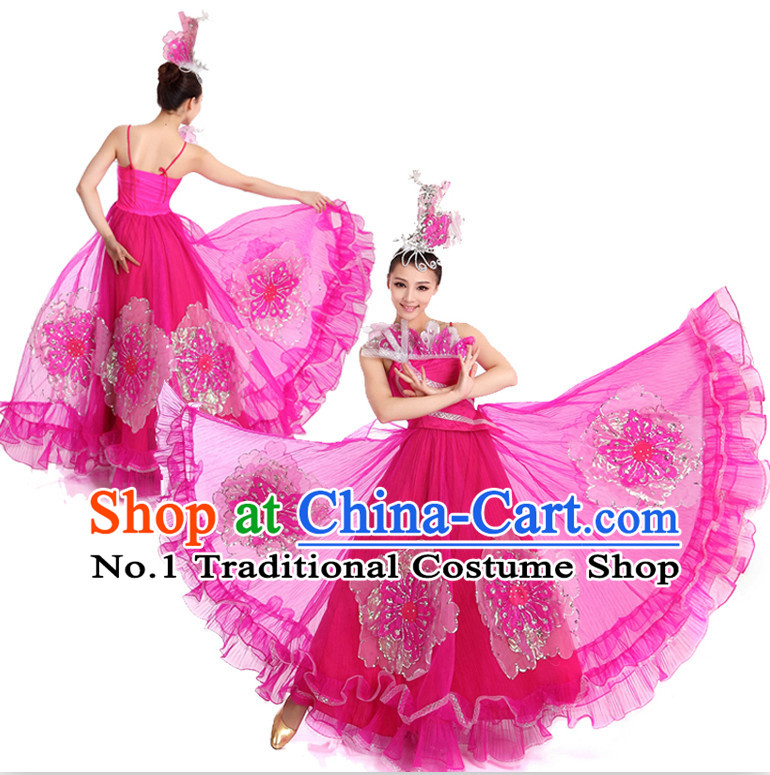 Chinese Traditional Big Opening Dance Suppy and Headwear Complete Set