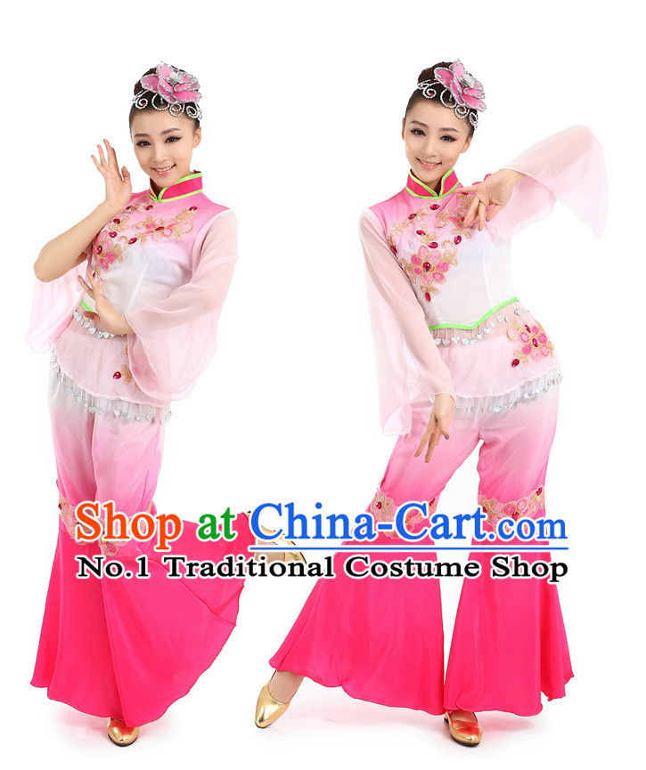 Chinese Traditional Fan Dance Costumes Suppy and Headwear Complete Set