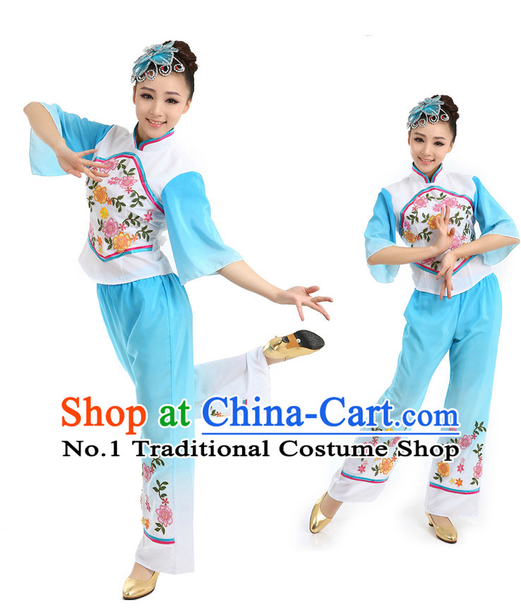 Chinese Traditional Han Fan Dance Costumes Suppy and Headwear Complete Set