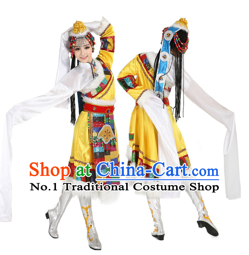 Chinese Traditional Tibetan Dance Costumes Suppy and Headpieces Complete Set