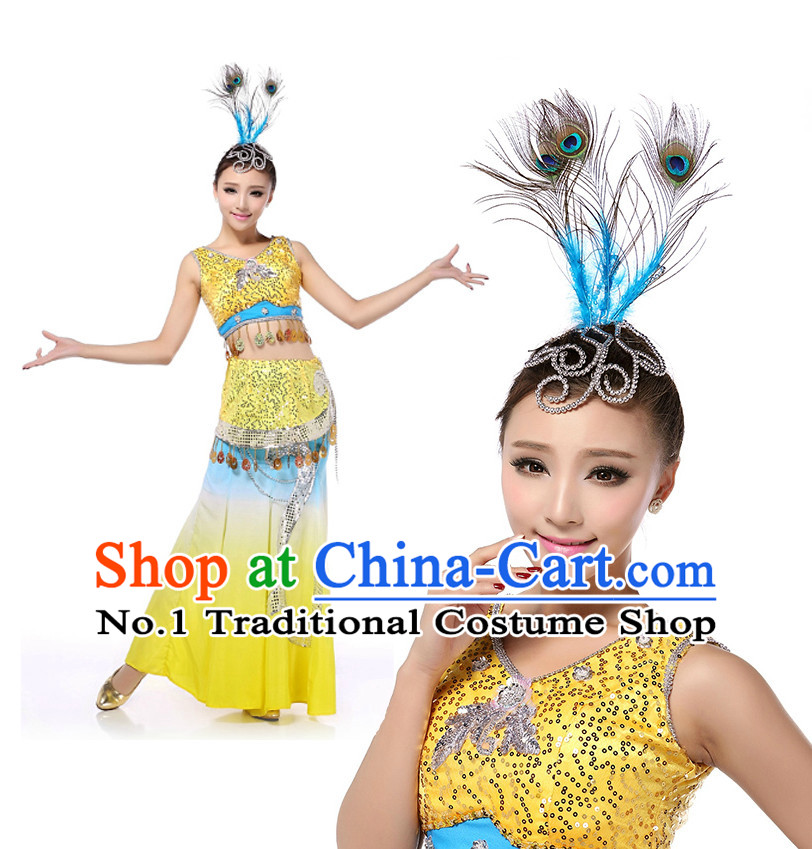 Chinese Girls Dancewear Peacock Dai Zu Dance Stores online and Headpieces for Women