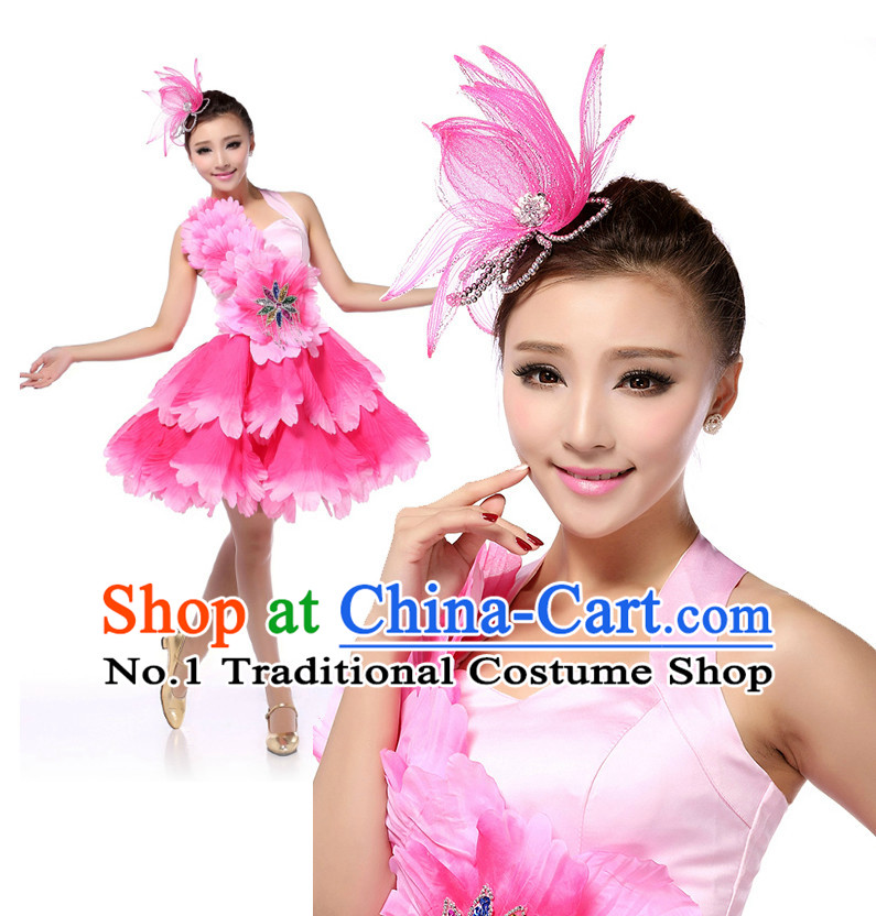 Chinese Flower Dancing Costumes Apparel Dance Stores Dance Gear Dance Attire and Hair Accessories Complete Set