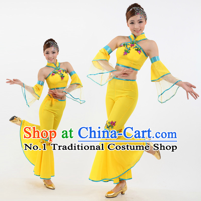 Chinese Stage Professional Fan Dancing Costumes Apparel Dance Stores Dance Gear Dance Attire and Hair Accessories Complete Set